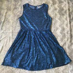Blue sequin fit and flare mini dress